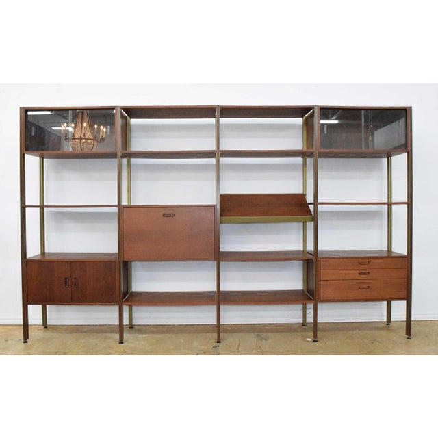 Large Four Bay George Nelson Walnut and Bronze Omni System For Sale - Image 13 of 13