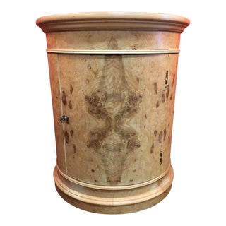 1980s Transitional Henredon Olive Burl Drum Table For Sale