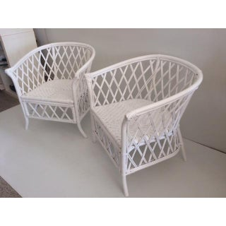 Boho Chic Rattan Chairs With Barrel Backs - a Pair Preview