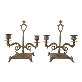 Ornate Brass Double Candle Holders - a Pair For Sale