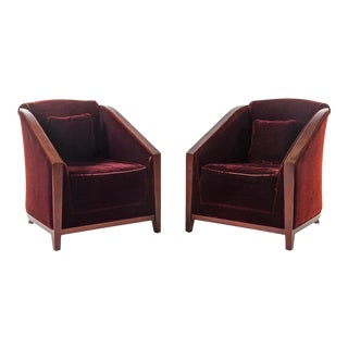 French Art Deco Lounge Chairs- A Pair For Sale