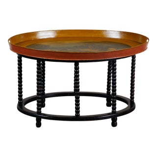 19th C. Danish Tole Tray Table For Sale