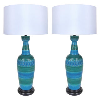 "1960s Bitossi Ceramiche Aldo Londi ""Rimini Blu"" Ceramic Table Lamps, Italy For Sale"