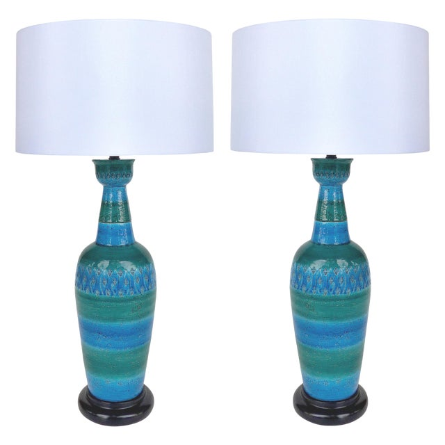 """1960s Bitossi Ceramiche Aldo Londi """"Rimini Blu"""" Ceramic Table Lamps, Italy For Sale"""