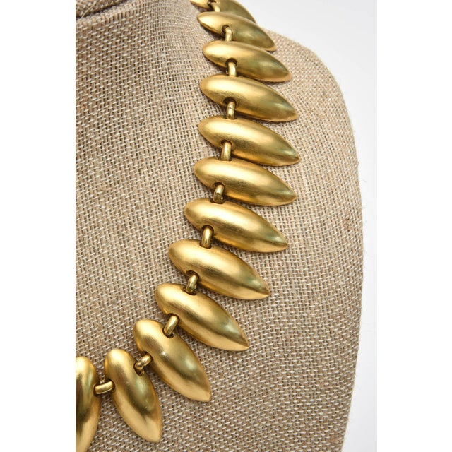 Gold Sculptural Gold Plated Necklace & Pair of Clip on Dangle Earrings For Sale - Image 7 of 10