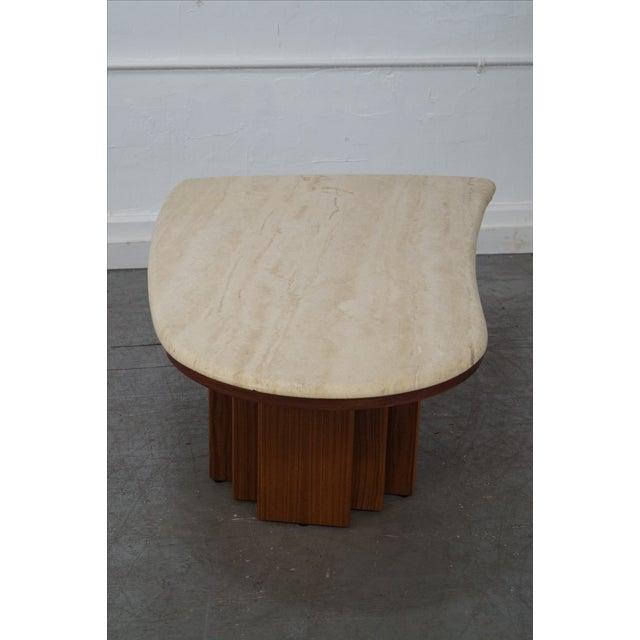 Danish Teak Base Travertine Top Coffee Table - Image 4 of 9