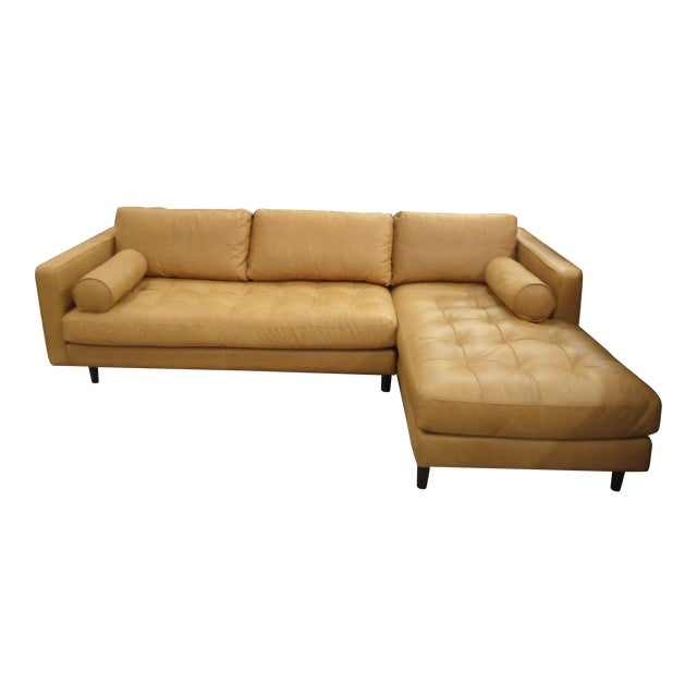 Tan Leather Sectional Sofa, Right Chaise, Tufted Seating For Sale
