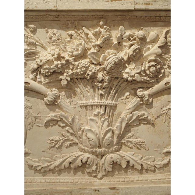 White Architectural Plaster and Wood Overdoor Panel From Provence, France For Sale - Image 8 of 9