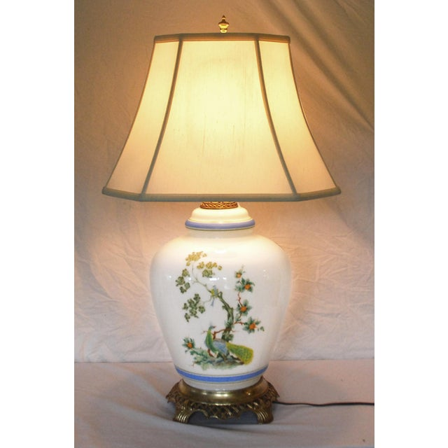 Blue Vintage Asian Style Green Blue Peacock Ginger Jar Table Lamp For Sale - Image 8 of 8