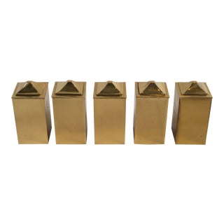Vintage Polished Brass Lidded Boxes - Set of 5 For Sale