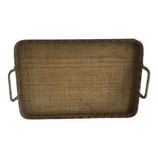 Burnt Bamboo & Rattan Tray For Sale