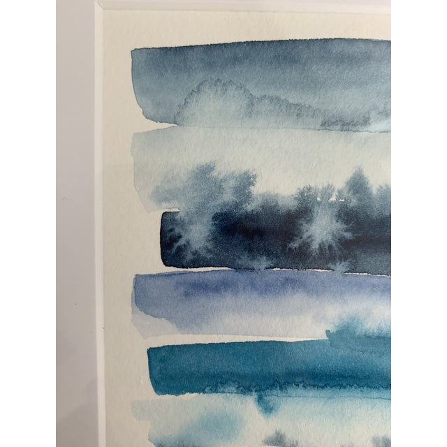 2020s Original Abstract Watercolor in Shades of Blue For Sale - Image 5 of 10