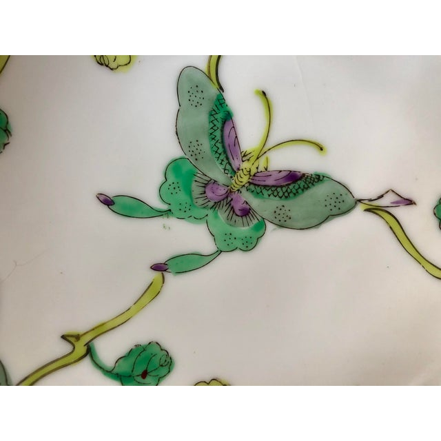 Ceramic Mid Century Vintage Chinese Famille Verte Green Butterfly and Floral Porcelain Lotus Bowl For Sale - Image 7 of 10