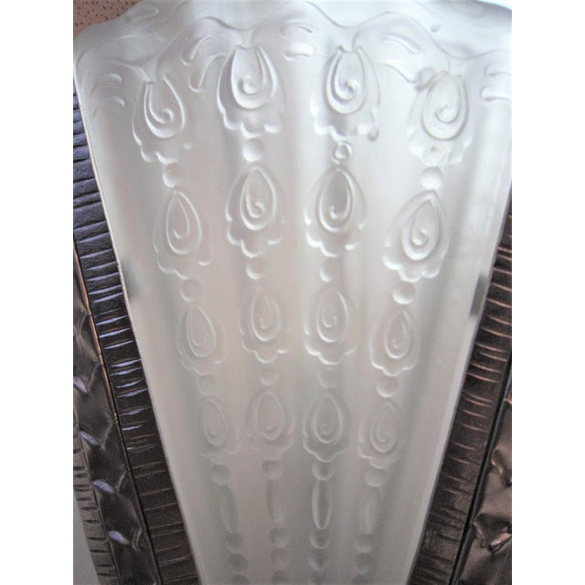 White Massive Verrerie Belge Art Deco Frosted Glass Chandelier, Stamped F. Carion For Sale - Image 8 of 13
