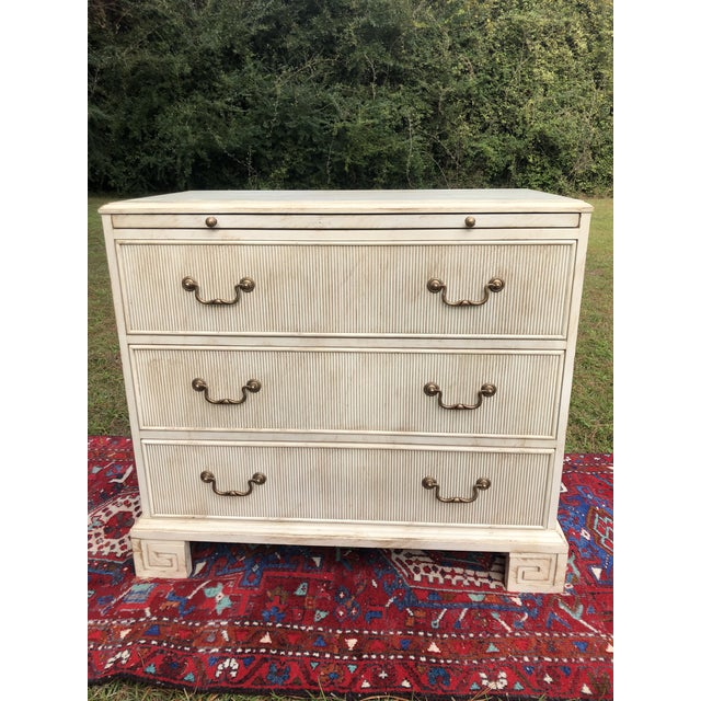 Hickory White Chest With Flutted Drawers and Greek Key Legs For Sale - Image 9 of 13
