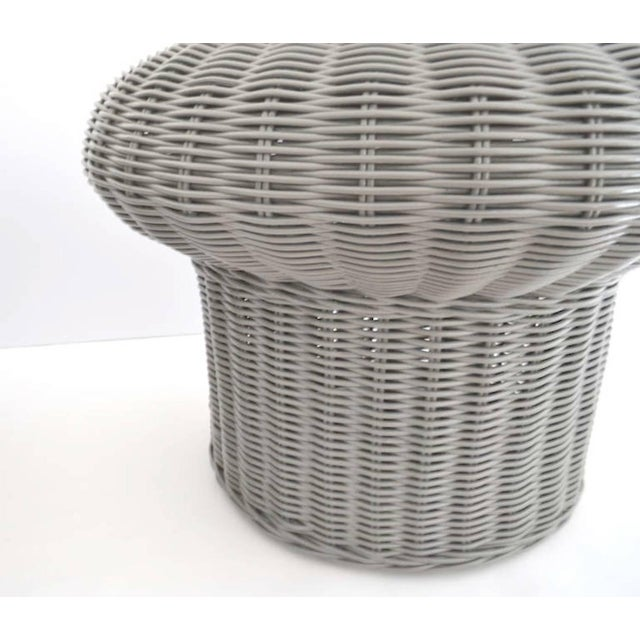 1960s Pair of Midcentury Woven Rattan Side Tables For Sale - Image 5 of 7