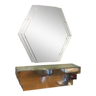 Art Deco Chrome Vanity With Mirror