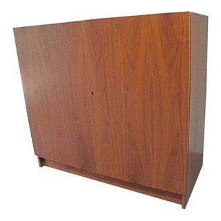 Vitre Danish Teak Vintage Mid Century Folding Compact Desk Cabinet For Sale