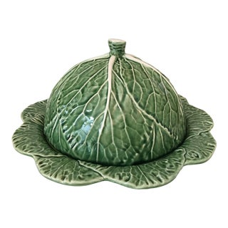 Large Majolica Cabbage Leaf Cheese Dome & Platter-Made in Portugal For Sale