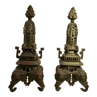 1870s Antique French Chinoise Bronze Garnitures - a Pair For Sale