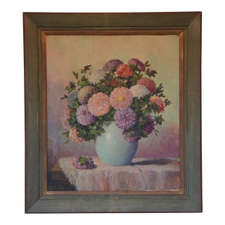 Vintage Mid 20th Century Still Life Painting With Hydrangeas For Sale