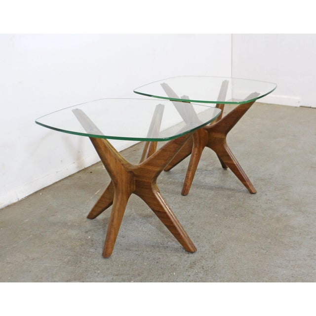 Craft Associates Pair of Mid-Century Danish Modern Adrian Pearsall 'Jacks' Glass Top End Tables For Sale - Image 4 of 13