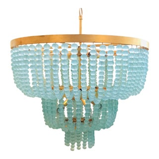 Regina Andrew Modern Aqua Glass Bead Summer Chandelier For Sale