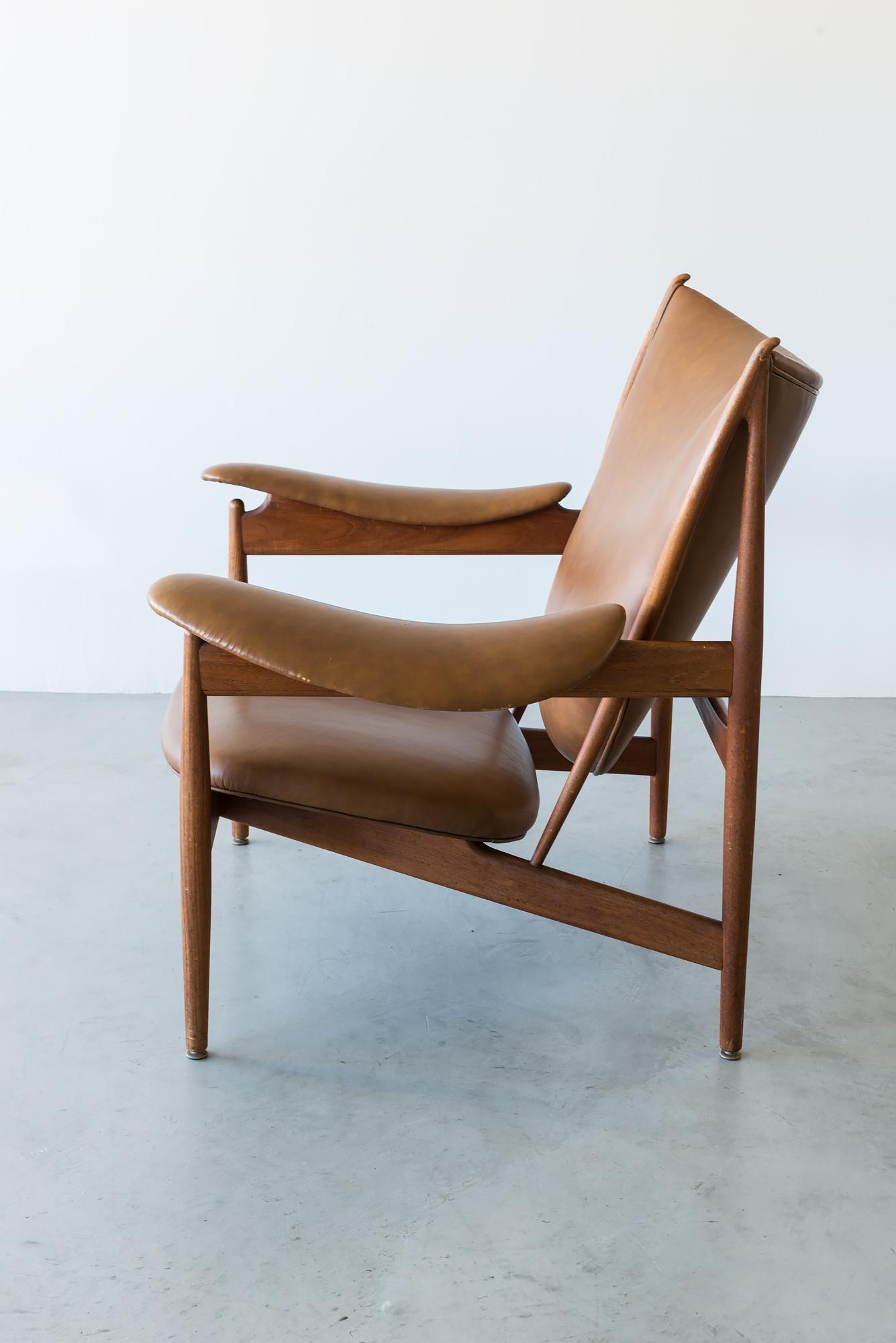 Superb Finn Juhl Chieftain Chair By Neils Vodder In Teak And Cognac/Brown Leather,  Denmark