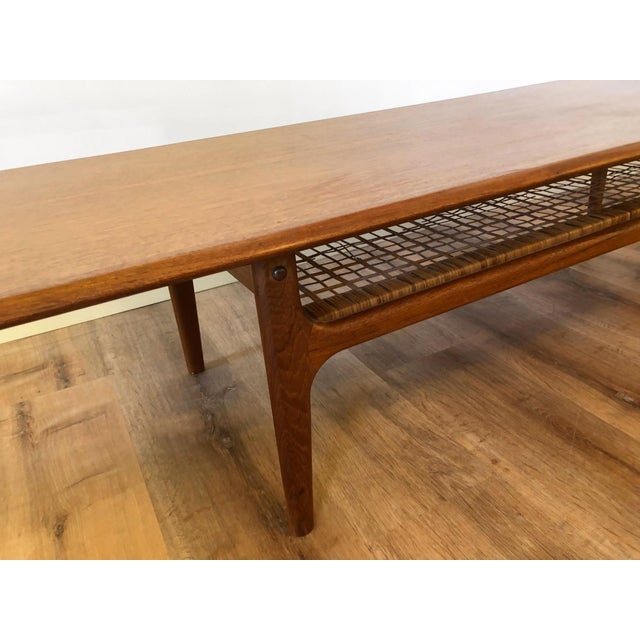 Brown Danish MCM Long Coffee Table With Woven Wicker Shelf by Trioh Mobler For Sale - Image 8 of 9
