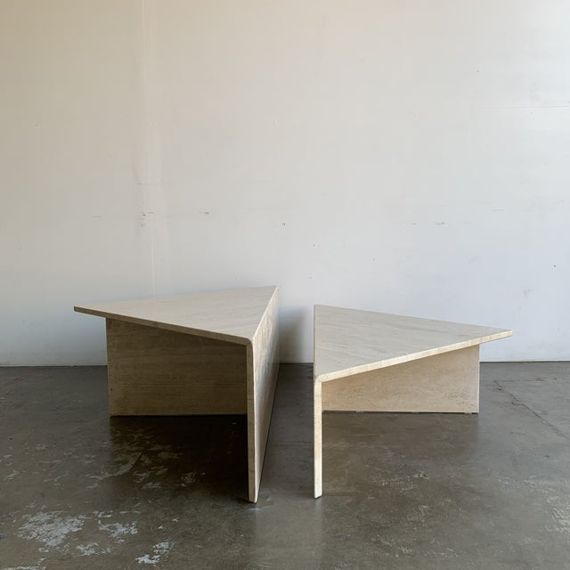 Travertine Triangular Coffee Tables-A Pair For Sale - Image 13 of 13