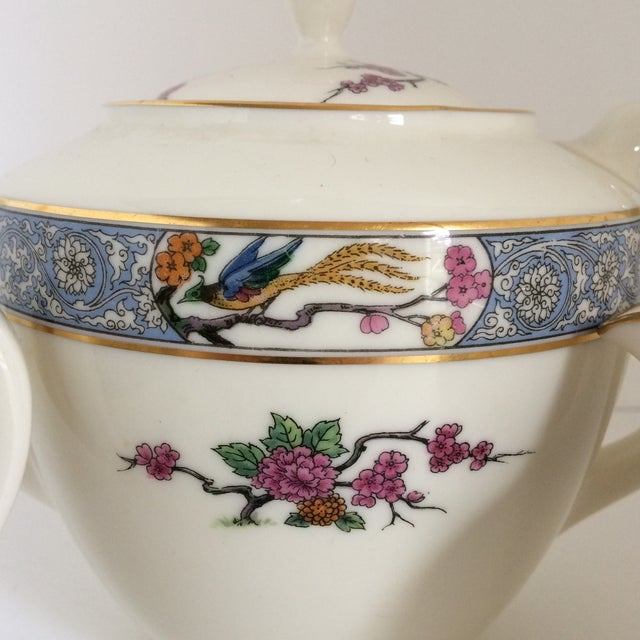 "Teapot with Creamer and Sugar ""Ming"" with Bird by Lenox - Set of 3 For Sale - Image 9 of 11"