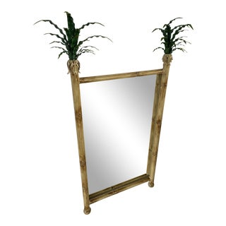 1990s Coastal Regency Metal Palm Leaf Mirror For Sale