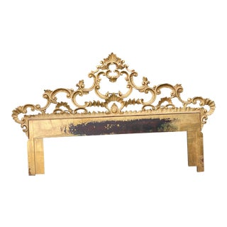 1950s Italian Gold Gilt Ornate Carved King Headboard For Sale