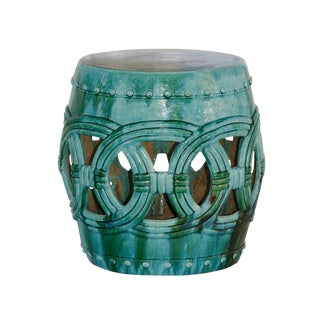 Green Ceramic Garden Stool For Sale
