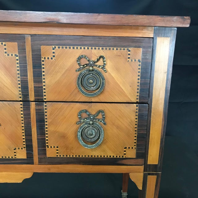 Brown French Louis XVI Style Petite Marquetry Inlaid Two Drawer Commode For Sale - Image 8 of 13