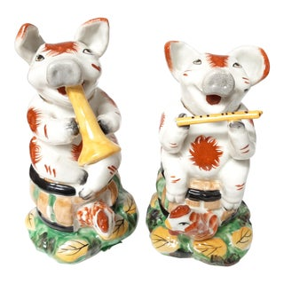 1960s Reproduction Staffordshire Pigs With Instruments - a Pair For Sale