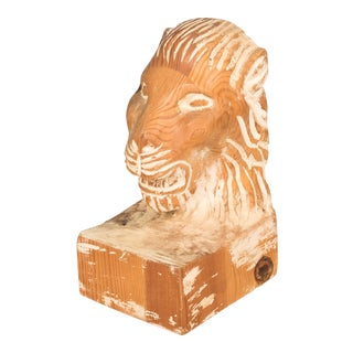 Vintage Sarreid LTD Handcarved Lion Head Bookend