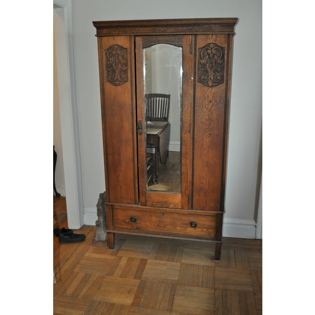 1920s Vintage Oak Armoire With Mirror For Sale - Image 5 of 5