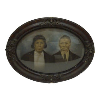 "Vintage Bubble Glass Framed Color Photograph ""Sophisticated Black Couple"", 1920 For Sale"