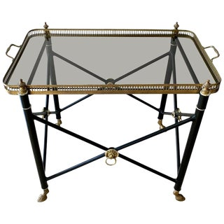 Italian Glass Tray Table With Brass Lion Detailing For Sale