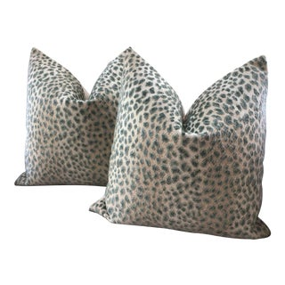 Cowtan and Tout Ocelot Raised Celadon Green Velvet Cheetah Pillows - a Pair For Sale