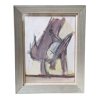 "Nicholas Krushenick Original Oil on Paper ""Bird"", 1929-1999 For Sale"