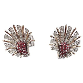 1959 Vintage Boucher Pavé Faux-Ruby Earrings For Sale
