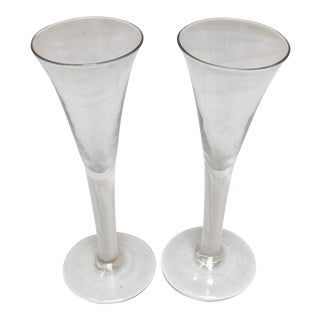C. 1740 Drawn Trumpet Form Wine Glasses - a Pair For Sale