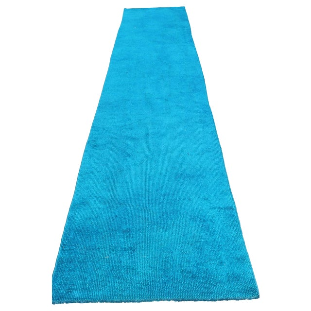 Oushak Over-Dyed Turquoise Runner - 2′10 X 14' - Image 1 of 8
