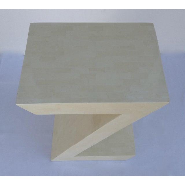 "Black Karl Springer Attr. Inlaid Bone Tessellated ""Zig-Zag"" Side/End Table For Sale - Image 8 of 13"