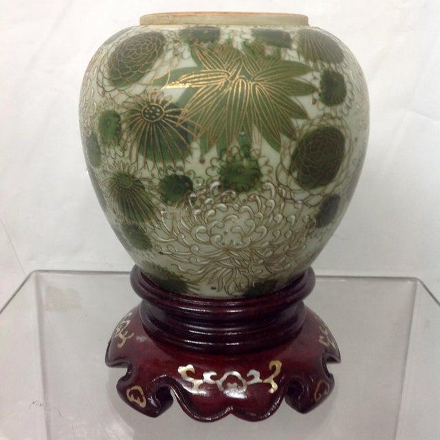 Fujita Kutani Green Mum Vase Rosewood Stand Chairish