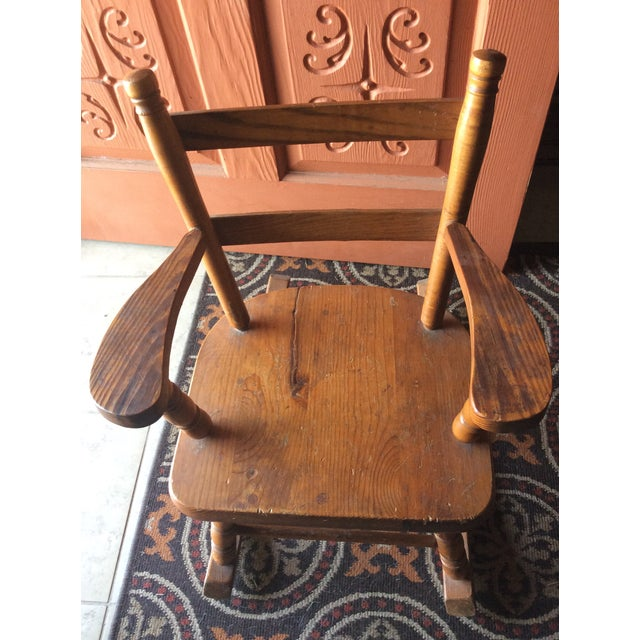 1970s Vintage Children's Wooden Rocking Chair For Sale In Dallas - Image 6 of 7