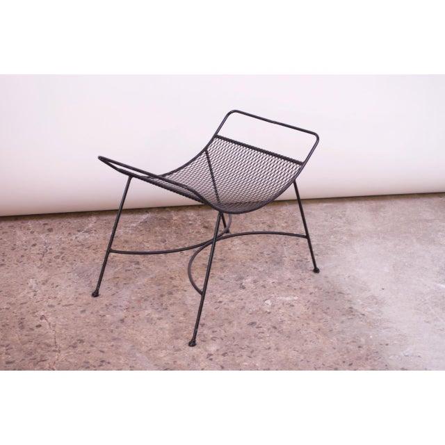Black Mid-Century Modern Iron Footstool / Ottoman For Sale - Image 8 of 12