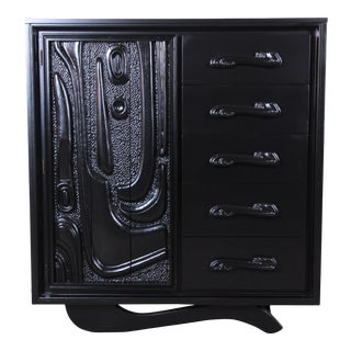 Witco Oceanic Style Black Lacquered Sculptural Tiki Gentleman's Chests by Pulaski For Sale